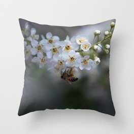 Choke Cherry Blossoms Throw Pillow