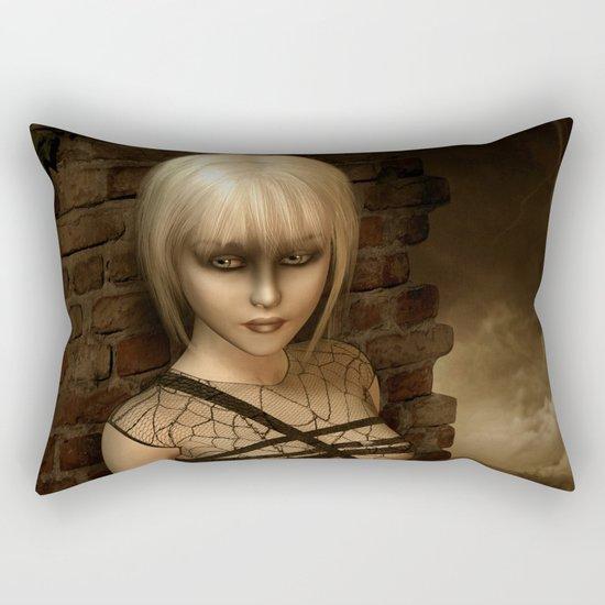 Sad Gothic Girl awaiting the storm Rectangular Pillow
