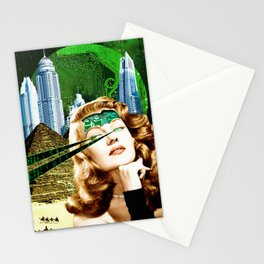 Surreal Futuristic City Woman Stationery Cards