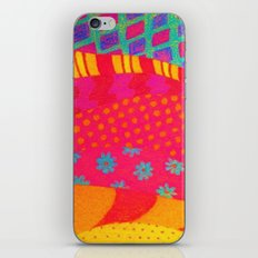 THE FASHIONISTA - Bright Vibrant Abstract Waves Mixed Media Whimsical Fashion Fabric Pattern iPhone Skin