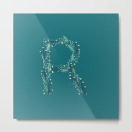 Turquoise flowers alphabet R Metal Print