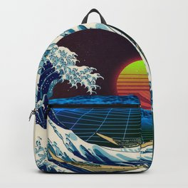 Synthwave Space #9: The Great Wave off Kanagawa Backpack
