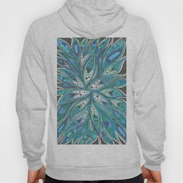 Aqua Abstract Patterned Drawing Hoody