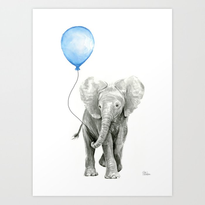 Baby Animal Elephant Watercolor Blue Balloon Boy Nursery Room Decor Art Print By Olechka
