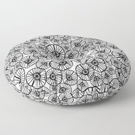 Lexi - squiggle modern black and white hand drawn pattern design pinwheels natural organic form abst Floor Pillow