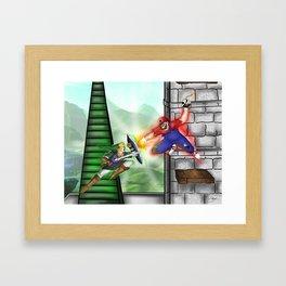 Link Vs. Mario Framed Art Print