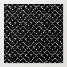 Black & Silver Mermaid Scales Pattern Canvas Print