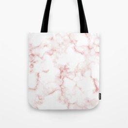 Pink Rose Gold Marble Natural Stone Gold Metallic Veining White Quartz Tote Bag