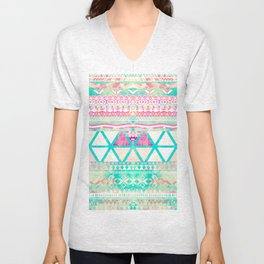 Pink Teal Aztec Pattern Triangles Girly Watercolor Unisex V-Neck