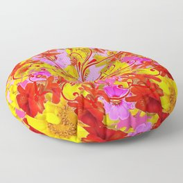 AWESOME RED AMARYLLIS & YELLOW COREOPSIS RED ABSTRACT GARDEN Floor Pillow