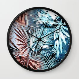 Colorful gradient tropical palm and ficus leaves Wall Clock