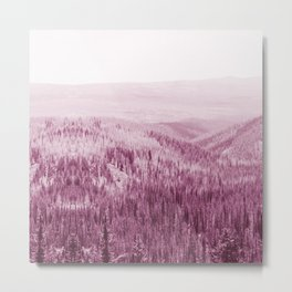 pastel pink pine forest and wooded area nature landscape print Metal Print