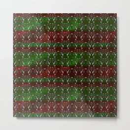 Foil Flower in Red and Green Metal Print