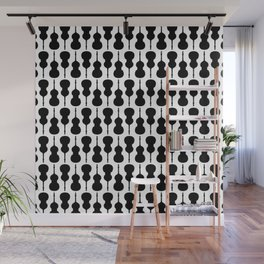Double Bass Pattern - black on white Wall Mural