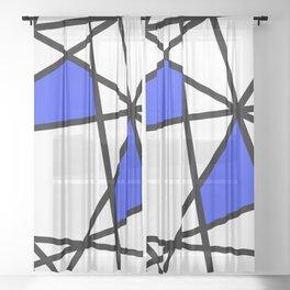 Geometric Modern triangles - white blue Sheer Curtain