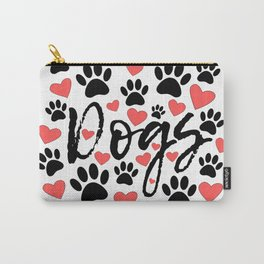 Black Paw Prints Red Hearts Typography Carry-All Pouch