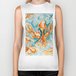 Sparkly Gold Goldfish watercolor by CheyAnne Sexton Biker Tank