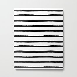 Hand Drawn Ink Horizontal Lines – Black and White Metal Print