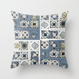 mosaic quilt in cadet blue Throw Pillow