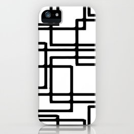 Interlocking Black Squares Artistic Design iPhone Case