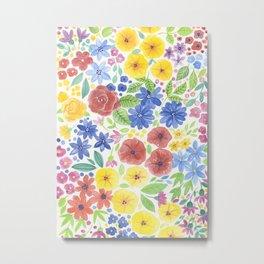 Doodle floral garden in watercolor Metal Print