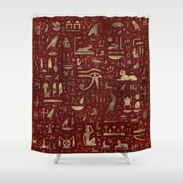Ancient Egyptian hieroglyphs - Red Leather and gold Shower Curtain