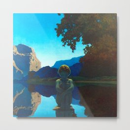 Twilight Sky Blue, Evening Shadows by the Reflection Pool landscape painting by Maxfield Parrish Metal Print