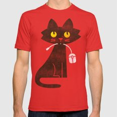 Fitz - Hungry hungry cat (and unfortunate mouse) Red Mens Fitted Tee MEDIUM