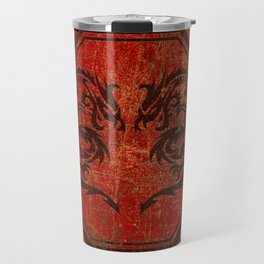 Distressed Dueling Dragons in Octagon Frame With Chinese Dragon Characters Travel Mug