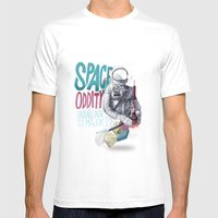 SPACE ODDITY Mens Fitted Tee MEDIUM White