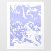 Suminagashi marble pastel blue minimal painting watercolor abstract Art Print
