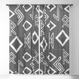 Healing runes black and white Sheer Curtain