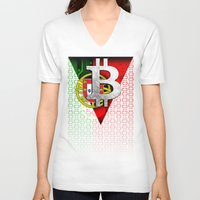 portugal V-neck T-shirts featuring bitcoin Portugal by seb mcnulty