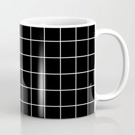 Square Grid Black Coffee Mug