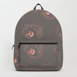 Swirl with the Leaves | Rock grey and Peach Color Palette Backpack