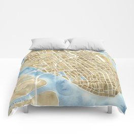 Charleston, South Carolina City Map Art Print Comforters