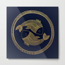 Golden Zodiac Series - Pisces Metal Print