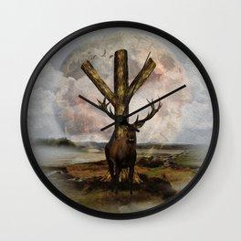 Algiz  Rune and Deer Digital Art Collage Wall Clock