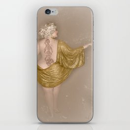 """Golden Goddess"" - The Playful Pinup - Majestic Curvy Pin-up Beauty in Gold by Maxwell H. Johnson iPhone Skin"