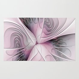 Fantasy Flower, Pink And Gray Fractal Art Rug