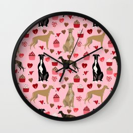 Greyhound valentines day cupcakes and hearts pet portrait custom dog person gifts greyhounds Wall Clock