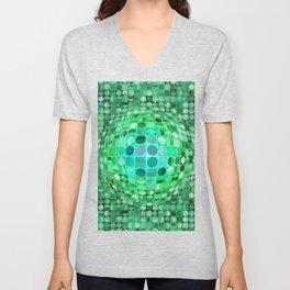 Optical Illusion Sphere - Green Unisex V-Neck