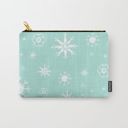 Mint Winter Dream #3 #snowflakes #pattern #decor #art #society6 Carry-All Pouch