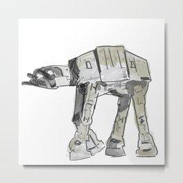 Empire Strikes Back AT AT Walker line watercolor artwork Metal Print