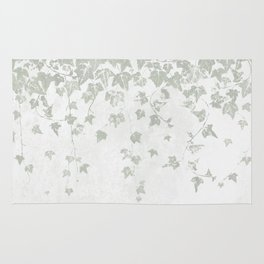 Soft Gray Green and White Trailing Ivy Leaf Print Rug
