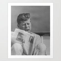 JFK Relaxing Outside Art Print