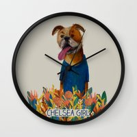 chelsea Wall Clocks featuring Chelsea Girl by Jade Young Illustrations