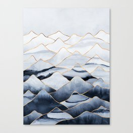 Mountains 2 - Gold Colored Lines Canvas Print