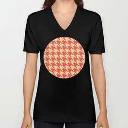 Red & Yellow Houndstooth Pattern Unisex V-Neck