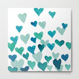 Valentine's Day Watercolor Hearts - turquoise Metal Print